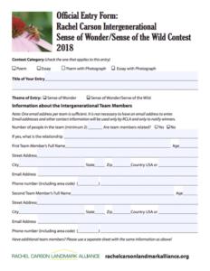rachel carson intergenerational sense of wondersense of the wild  the sense of wonder entry form is a fillable pdf